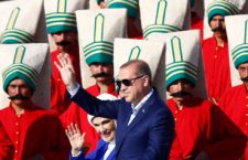 Turkish President Tayyip Erdogan, accompanied by his wife Emine Erdogan, greets supporters during a rally to mark the 563rd anniversary of the conquest of the city by Ottoman Turks, in Istanbul, Turkey, May 29, 2016. REUTERS/Murad Sezer     TPX IMAGES OF THE DAY