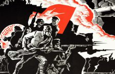 Commemorative poster from the USSR depicting the 60th anniversary of the October revolution. The communists are storming the old world of exploitation and inequality; the Lenin party, at the head of the working class and the peasantry, destroyed this world, which covered one sixth of the planet. K. Akcenov. (Photo by Michael Nicholson/Corbis via Getty Images)