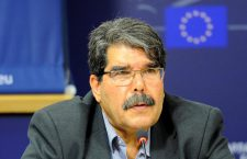 BRUSSELS, BELGIUM - SEPTEMBER 24:  Kurdish Democratic Union Party (PYD) leader Salih Muslim attends a press conference about the Syrian Kurds and the Daech (ISIL) offensive at the European Parliament building in Brussels, Belgium on September 24, 2014. (Photo by Dursun Aydemir/Anadolu Agency/Getty Images)