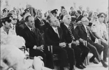 ATHENS, GREECE:  From left: Former Greece Prime Minister Georgios Papadopoulos, Nikolaos Makarescos, Slylianos Pattakos and Grigorios Spandidakis, the members of Papadopoulos military junta face the court in August 1975 in Athens during the trial of the putschists involved in the 1974 military coup. Colonel Papadopoulos, who led a military coup against the government 21 April 1967 was arrested in October 1974 and sentenced to death for high treason. The sentence was commuted to life imprisonment. Former dictator died in an Athens hospital Sunday 27 June 1999, aged 80. (Photo credit should read AFP/Getty Images)