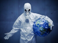Man in white overalls and gas mask, concerned for the world, and looking desperate.