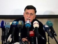 FILE PHOTO: Fayez Mustafa al-Sarraj, Libya's internationally recognised Prime Minister, speaks during a news conference in Tripoli, Libya February 15, 2020.  REUTERS/Ismail Zitouny/File Photo